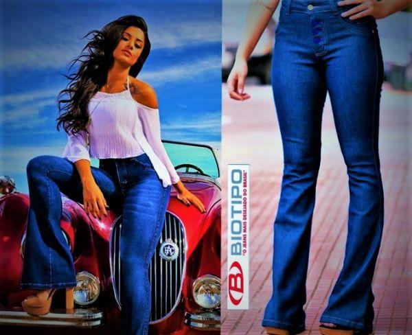 ebb1a4718 Calça Jeans Feminina Biotipo Flare Hot Pant Corpete M18141 - YES ...